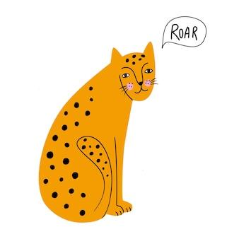 Netter leopard flache hand gezeichnete illustration afrikanisches raubtier vektorillustration im flachen stil