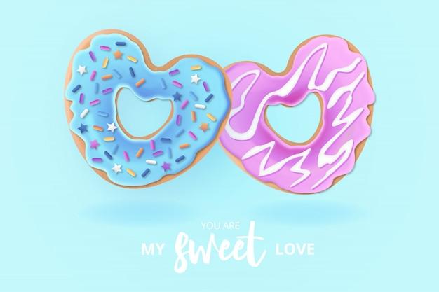 Netter liebes-donut-hintergrund mit liebes-mitteilung