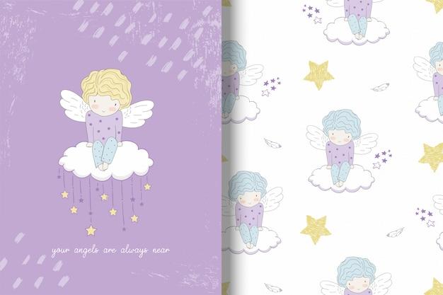 Netter liitle engel auf der wolke und dem muster