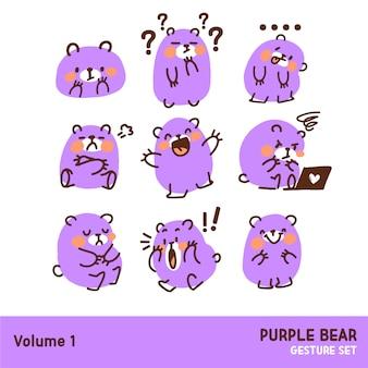 Netter lila bär emoticon geste gekritzel illustration zeichensatz