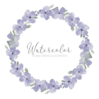 Netter lila blütenblattblumenkranz des aquarells