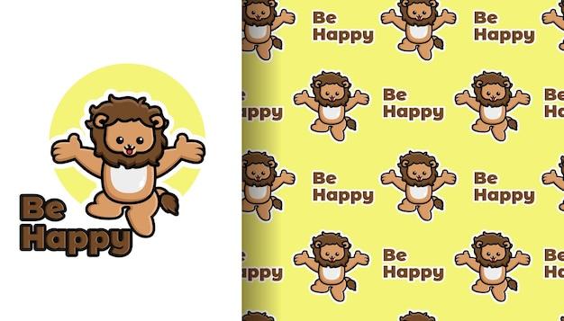 Netter löwe-cartoon, der mit nahtlosem muster springt