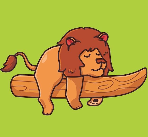 Netter löwe, der auf dem baumastkarikaturtiernaturkonzept schläft isolierte illustration flat