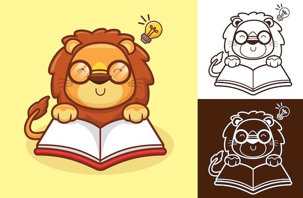 Netter löwe, der ein buch liest, verwenden brillen mit glühbirne auf dem kopf. karikaturillustration im flachen ikonenstil