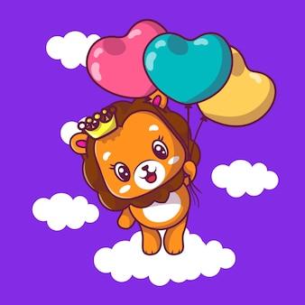 Netter löwe, der mit herzballonikonenillustration fliegt