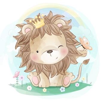 Netter löwe, der mit schmetterling spielt
