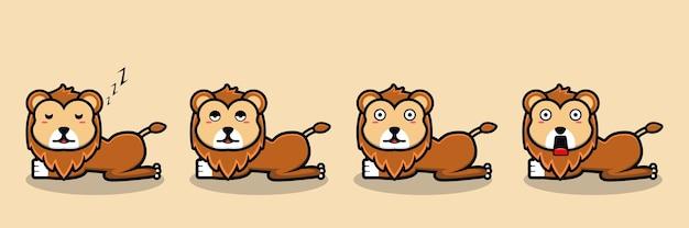 Netter löwe, der schläft, um karikaturvektor aufzuwachen