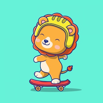 Netter löwe, der skateboardillustration spielt