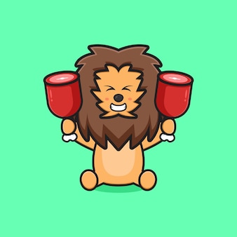 Netter löwe, der zwei fleischkarikaturikonenillustration hält. entwerfen sie isolierten flachen cartoon-stil