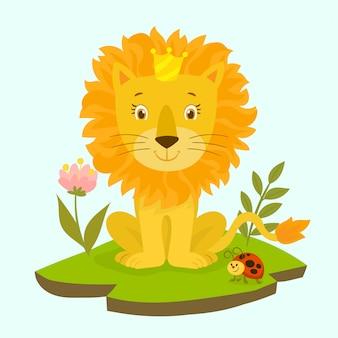 Netter löwe in einer krone