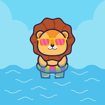 Netter löwe mit schwimmringkarikaturillustration