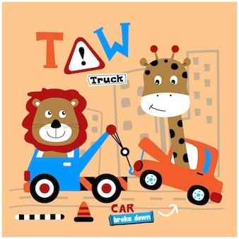 Netter löwe und giraffe auf der lustigen tierkarikatur des autos