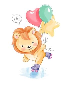 Netter löwe und luftballons in roller sakte illustration