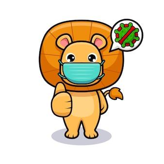 Netter löwenkönig, der maske für virusvorbeugungsdesignikonenillustration trägt