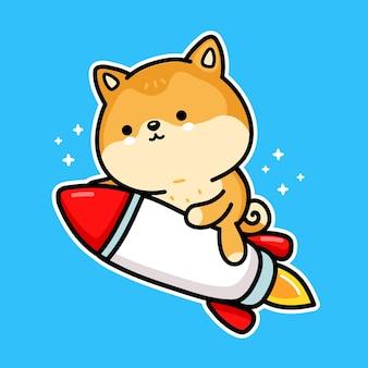 Netter lustiger akita inu hund dogecoin-charakter fliegt auf rakete. vektor handgezeichnete cartoon kawaii charakter illustration. kryptowährung, dogecoin-rakete, cartoon-charakter-konzept