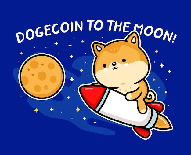 Netter lustiger akita inu hund dogecoin-charakter fliegt auf rakete zum mond. dogecoin zum mondslogan vektor handgezeichnete cartoon kawaii charakterillustration. doge-münze, rakete cartoon-charakter-konzept