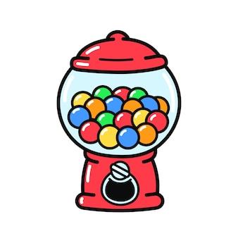 Netter lustiger altmodischer kaugummiautomat. vektor handgezeichnete cartoon-illustration-symbol. isoliert auf weißem hintergrund. süßigkeiten, kaugummispender-maschinenlogokonzept