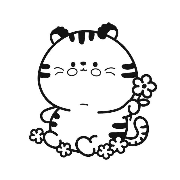 Netter lustiger babytiger mit blumencharakterseite für malbuch. vektor handgezeichnete cartoon kawaii charakter abbildung symbol. isoliert auf weißem hintergrund. nettes tigerkarikatur-maskottchenkonzept