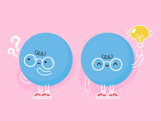 Netter lustiger blauer ball mit fragezeichen und ideenglühbirne