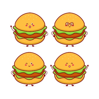 Netter lustiger burger-währungscharakter vektor handgezeichnete cartoon-maskottchen-charakter-illustration