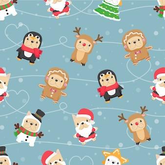 Netter lustiger französischer bulldoggenwelpe im nahtlosen muster des weihnachtskostüms für stoff- oder papierverpackung