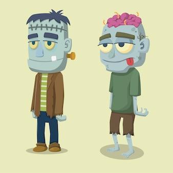 Netter lustiger gesichteter karikatur-halloween-zombie und frankenstein