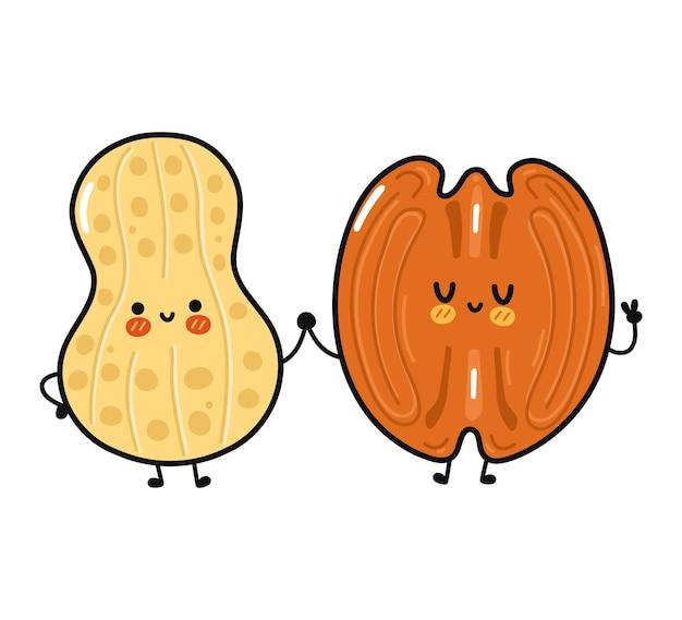 Netter lustiger glücklicher erdnuss- und pekannusscharakter