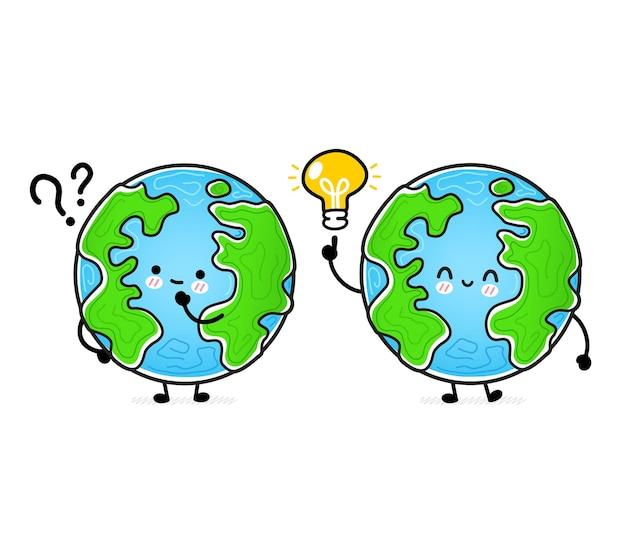 Netter lustiger glücklicher erdplanet mit fragezeichen und ideeglühbirne