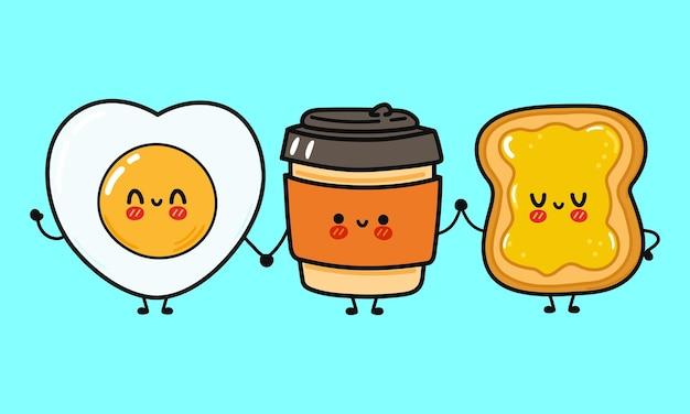 Netter lustiger glücklicher kaffeetassentoast mit honig- und spiegeleicharakter