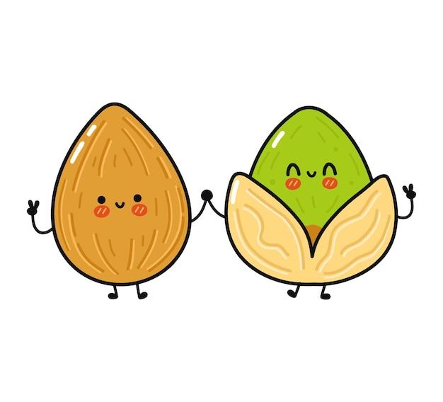 Netter lustiger glücklicher mandel- und pistaziencharakter