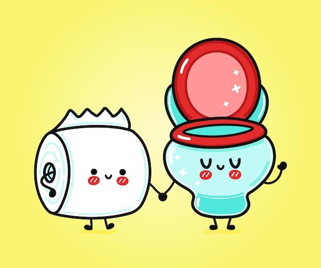 Netter lustiger glücklicher toilettenpapier- und toilettencharakter