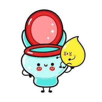 Netter lustiger glücklicher tropfen urin und toilettencharakter