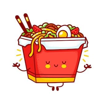 Netter lustiger glücklicher wok-nudel-box-charakter meditieren. flache linie karikatur kawaii charakter illustration logo symbol. auf weißem hintergrund isoliert. asiatisches essen, nudel, wok-box-charakter-konzept