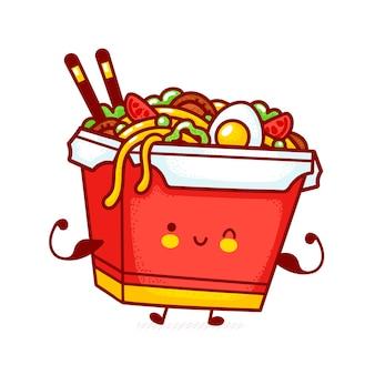 Netter lustiger glücklicher woknudel-kastencharakter zeigen muskel. flache linie karikatur kawaii charakter illustration symbol. auf weißem hintergrund isoliert. asiatisches essen, nudel, wok-box-charakter-konzept