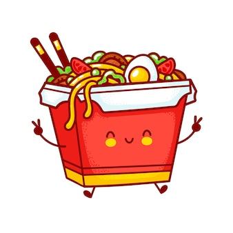 Netter lustiger glücklicher woknudelkastencharakter. flache linie karikatur kawaii charakter illustration logo symbol. auf weißem hintergrund isoliert. asiatisches essen, nudel, wok-box-charakter-konzept