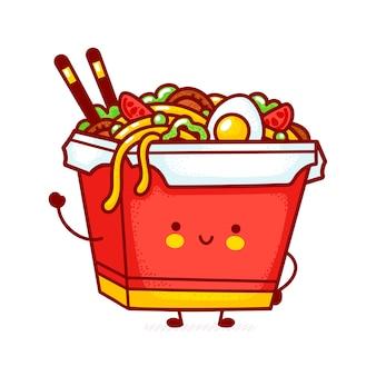 Netter lustiger glücklicher woknudelkastencharakter. flache linie karikatur kawaii charakter illustration symbol. auf weißem hintergrund isoliert. asiatisches essen, nudel, wok-box-charakter-konzept
