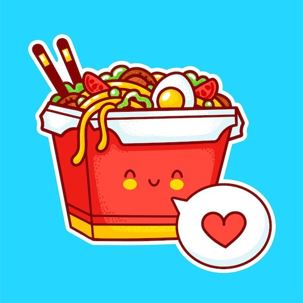 Netter lustiger glücklicher woknudelkastencharakter mit herz in der sprechblase. flache linie karikatur kawaii charakter illustration aufkleber symbol. asiatisches essen, nudel, wok-box-charakter-konzept