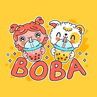 Netter lustiger hund und mädchen trinken blasentee aus der tasse. vektor handgezeichnete cartoon kawaii charakter illustration aufkleber logo symbol. asiatischer boba, hündchen und bubble tea trinken cartoon-charakter-logo-konzept