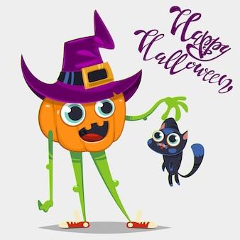 Netter lustiger kürbis im hut einer hexe und mit einer schwarzen katze. vektor-halloween-illustration mit zeichentrickfigur und handtext.