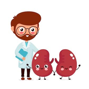 Netter lustiger lächelnder doktornephrologe und gesunde glückliche nieren.