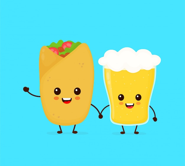 Netter lustiger lächelnder glücklicher buritto und glas bier. flache cartoon charakter abbildung symbol. fast food, cafe, pub, barkarte, buritto und ein glas bier