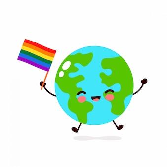 Netter lustiger lächelnder glücklicher erdplaneten-kartencharakter und flagge mit schwuler regenbogen-lgbt-flagge. cartoon charakter illustration icon design. menschenrechte. lgbtq. homosexuell stolz konzept