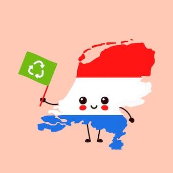 Netter lustiger lächelnder glücklicher kawaii niederlande-kartencharakter mit recycling-flagge. zeichentrickfigur abbildung. niederlande ökologie, recycling-konzept