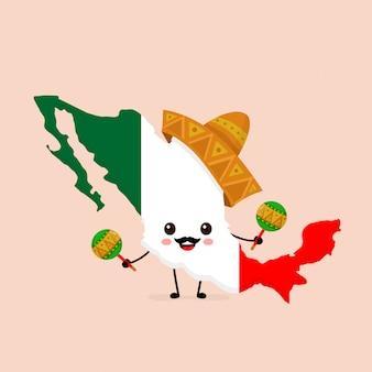 Netter lustiger lächelnder glücklicher mexiko-karten- und -flaggencharakter im nationalen hut mit maracas