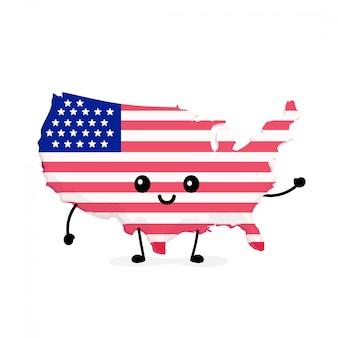 Netter lustiger lächelnder glücklicher usa-karten- und -flaggencharakter.