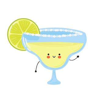 Netter lustiger margarita cocktailcharakter. hand gezeichnete karikatur kawaii charakterillustration. auf weißem hintergrund isoliert. margarita cocktail charakter konzept