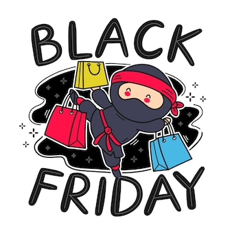 Netter lustiger ninja mit einkaufstaschencharakter. vektor flache linie karikatur kawaii charakter illustration symbol. isoliert. black friday sale konzept