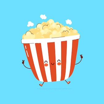 Netter lustiger popcorn charakter. hand gezeichnete karikatur kawaii charakterillustration. auf weißem hintergrund isoliert. popcorn-charakter-konzept