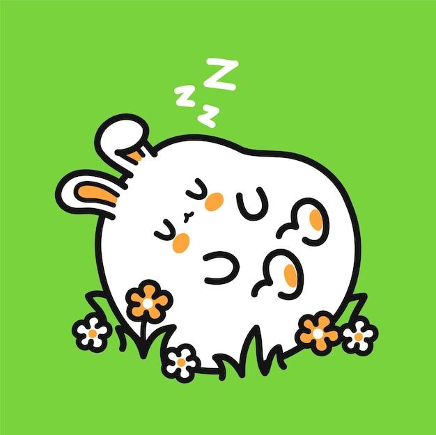 Netter lustiger schlafender kaninchencharakter. vektor handgezeichnete cartoon kawaii charakter abbildung symbol. nettes kaninchen, hase, schlafkarikatur-maskottchenkonzept