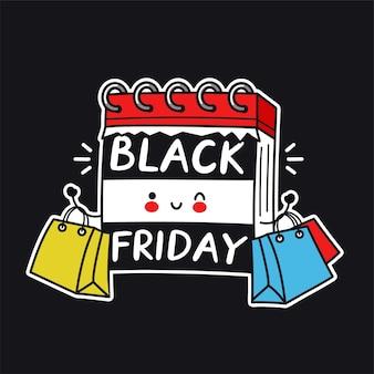 Netter lustiger schreibtischkalendercharakter mit einkaufstaschen. vektor flache linie karikatur kawaii charakter illustration symbol. black friday sale konzept
